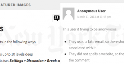 Comments feature in Wordpress